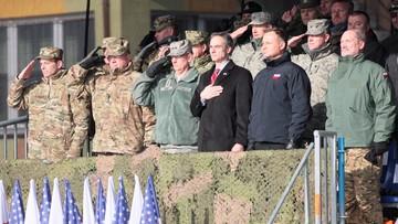 "30-01-2017 12:54 ""God bless Poland, God bless America, God bless American soldiers"". Prezydent Andrzej Duda w Żaganiu"