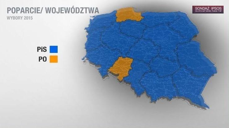 Ipsos: PiS wygrało w 14 województwach, PO - w dwóch