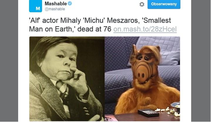 """Zmarł """"najmniejszy"""" aktor świata. To on wcielał się w postać Alfa"""