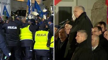 """Przepychanki podczas obchodów miesięcznicy smoleńskiej. """"To jest atak na Polskę"""""""
