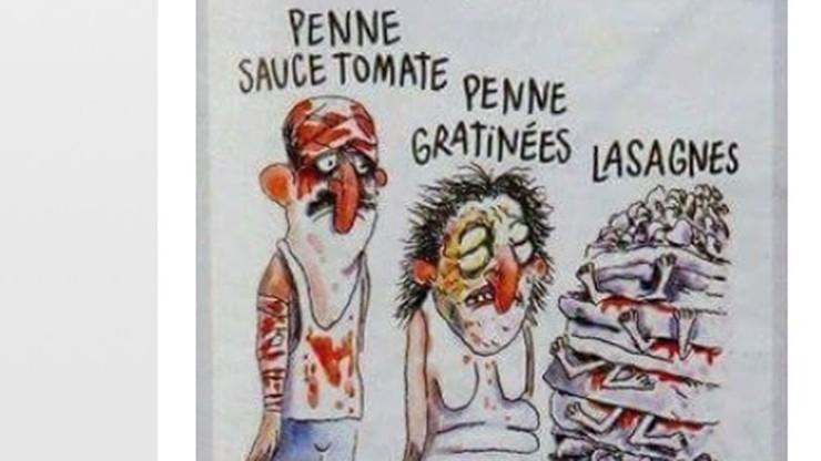 """""""To makabryczna obraza ofiar kataklizmu"""". Włosi skarżą """"Charlie Hebdo"""""""