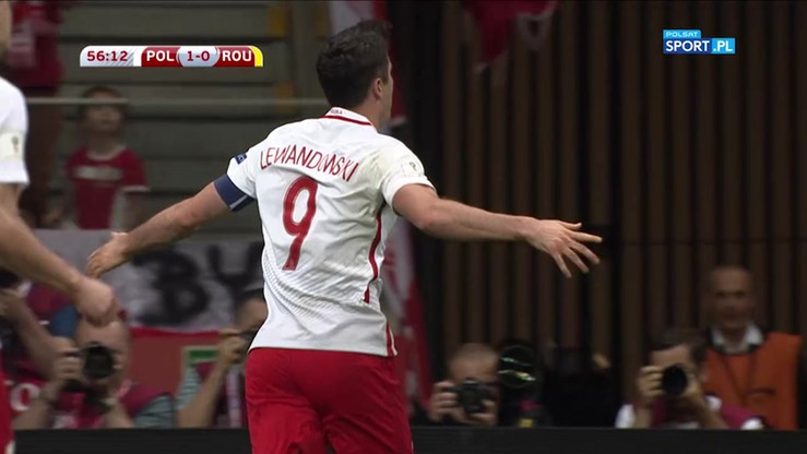 2017-06-10 Polska - Rumunia 2:0. Gol Lewandowskiego
