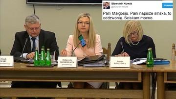 """Wassermann dzwoniła do Nowaka. Ten na Twitterze: """"Pani Małgosiu, Pani napisze smska"""""""