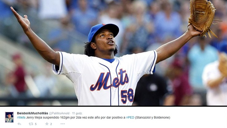 Baseballista Mejia zawieszony na... 162 mecze