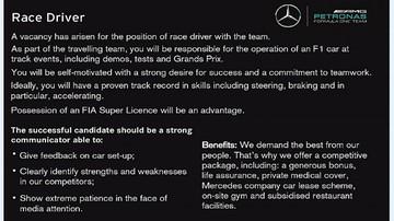 2016-12-09 I ty możesz zastąpić Rosberga! Mercedes szuka kierowcy przez... ogłoszenie w gazecie