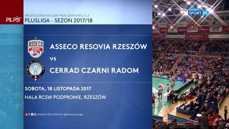 Asseco Resovia - Cerrad Czarni Radom 3:1. Skrót meczu
