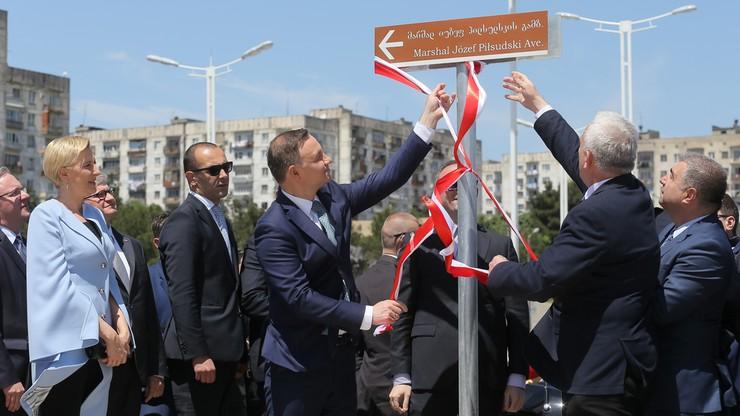 Otwarcie Alei Piłsudskiego w Tbilisi z udziałem prezydenta Dudy