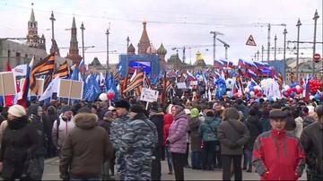 18-03-2016 18:00 Demonstracja proputinowska w Moskwie w 2. rocznicę aneksji Krymu. Prezydent odwiedził Półwysep