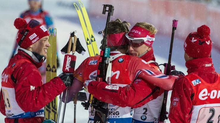 PŚ w biathlonie: Wygrana Norwegów w sztafecie, Polacy zdublowani