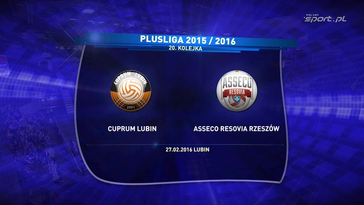 2016-02-27 Cuprum Lubin – Asseco Resovia 3:0. Skrót meczu