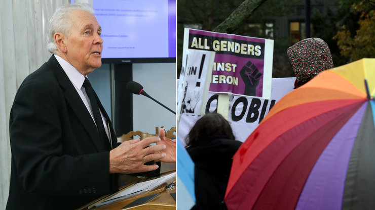 Wykład krytyka homoseksualizmu w Sejmie. Przed budynkiem - pikieta