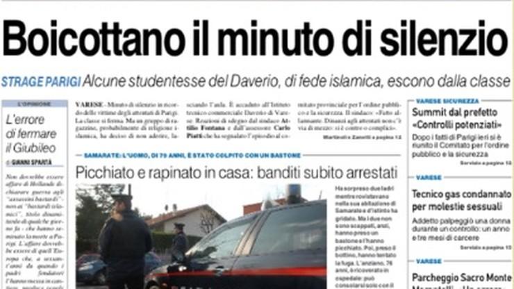 Włochy: muzułmańskie uczennice wyszły z klasy w czasie upamiętniania ofiar z Paryża