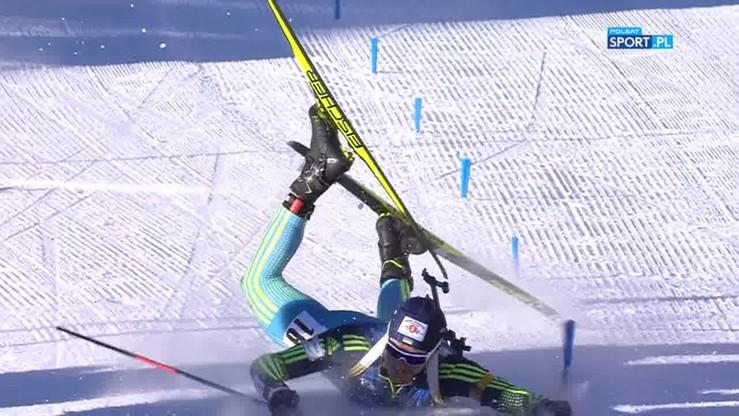 Twarzą w śnieg! Kuriozalny finisz ukraińskiego biathlonisty
