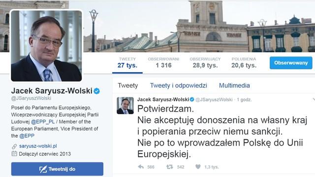 Saryusz-Wolski na TT: nie akceptuję donoszenia na własny kraj