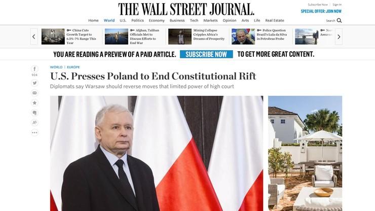 """""""Wall Street Journal"""" - """"Stany Zjednoczone naciskają na Polskę"""""""