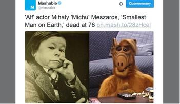 """13-06-2016 22:02 Zmarł """"najmniejszy"""" aktor świata. To on wcielał się w postać Alfa"""