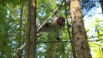 Zdjęto awionetkę, którą znaleziono w koronie drzew w Bieszczadach. Trafi na policyjny parking