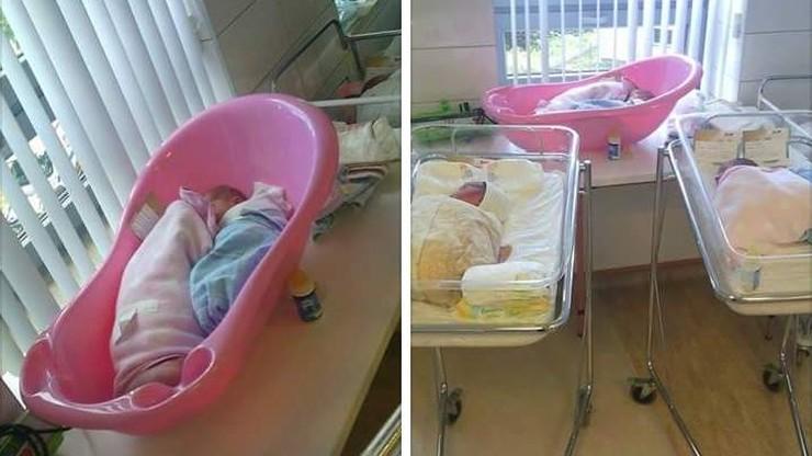 Noworodki w plastikowej wanience zamiast w łóżeczku. Szpital: sytuacja incydentalna z powodu braku miejsc