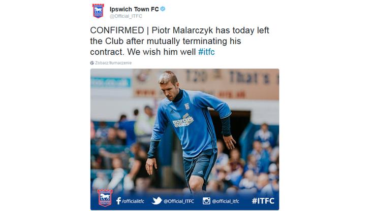 Malarczyk rozwiązał kontrakt z Ipswich Town