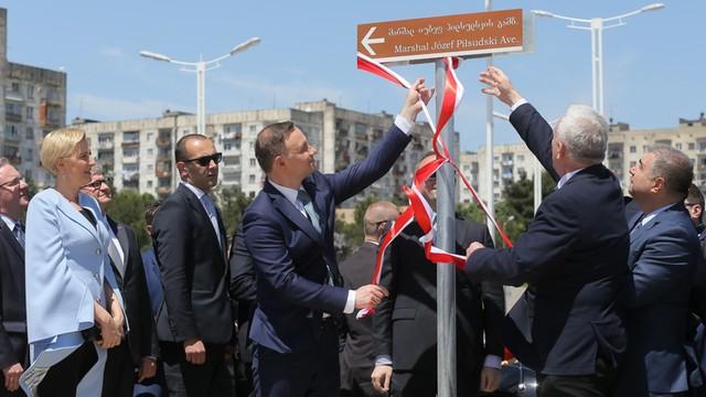 Prezydent Duda wziął udział w otwarciu Alei Piłsudskiego w Tbilisi