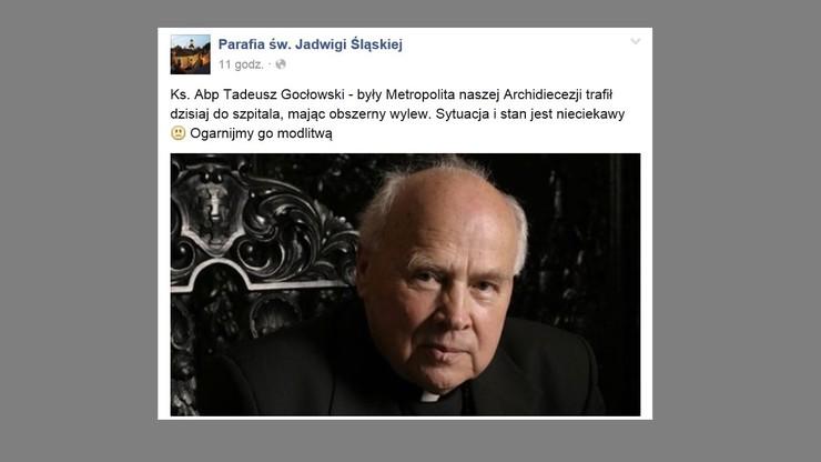 """Abp Gocłowski miał wylew. """"Stan zdrowia bardzo ciężki"""""""