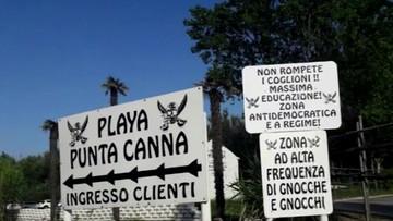 """09-07-2017 19:38 """"Faszystowska"""" plaża koło Wenecji. Właściciel wygłasza przemówienia nawiązujące do mów Mussoliniego"""