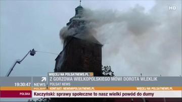 Pożar zabytkowej katedry w centrum Gorzowa Wielkopolskiego. Ogień na wieży