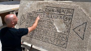 Bizantyjska mozaika z imieniem cesarza w doskonałym stanie. Leżała pod ziemią prawie 1500 lat