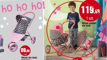 17-11-2016 11:06 Chłopiec z wózkiem dla lalek w gazetce reklamującej market. Internauci komentują