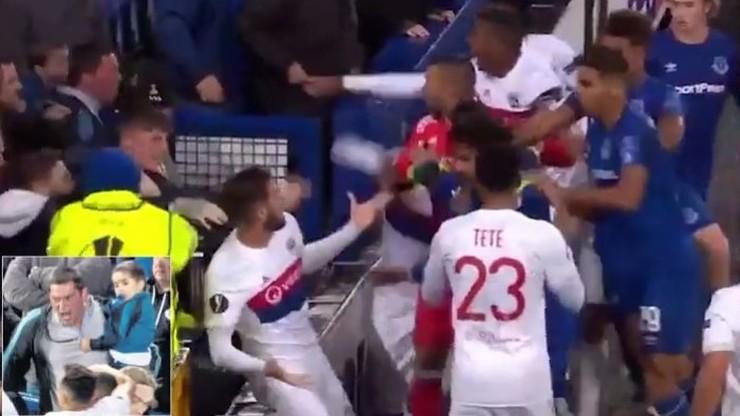 Kibic Evertonu z dzieckiem na rękach stanął do bójki z zawodnikami Lyonu (WIDEO)