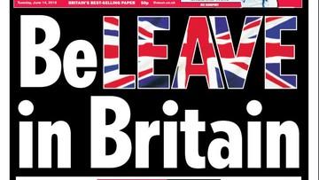 """14-06-2016 12:40 Dziennik """"The Sun"""" opowiedział się za Brexitem"""