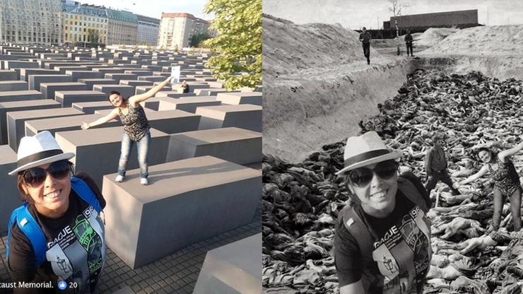 #YOLOCAUST - izraelski satyryk przerabia selfie z Pomnikiem Holocaustu i wkleja je w zdjęcia ofiar zagłady