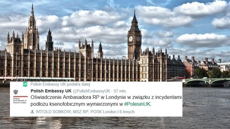 """Ambasada RP w Londynie """"zaniepokojona ksenofobicznymi atakami na Polaków"""""""