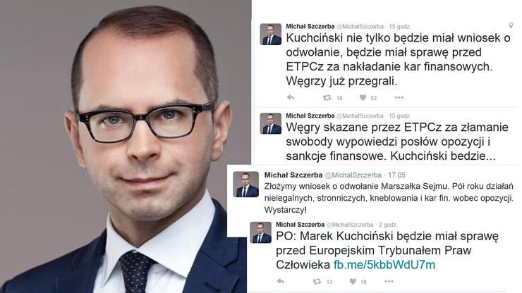 """Szczerba chce pozwać Kuchcińskiego przed Europejski Trybunał Praw Człowieka. """"Knebluje usta opozycji"""""""