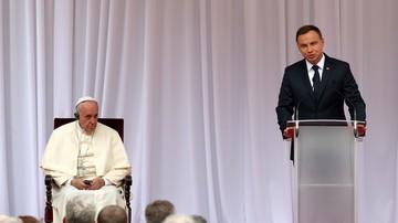 """27-07-2016 18:55 Prezydent Duda witając papieża: chciałoby się znów wołać """"Niech zstąpi Duch Twój i odnowi oblicze ziemi"""""""