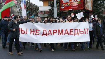 18-03-2017 17:17 Zatrzymani podczas protestu pracownicy Biełsatu zwolnieni po kilku godzinach