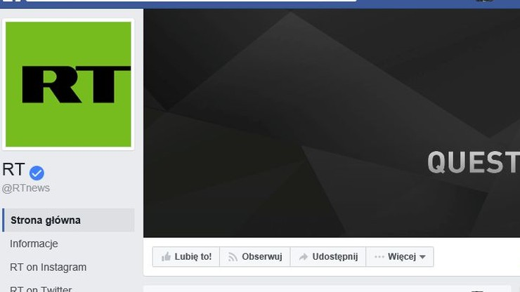 Facebook zablokował rosyjską telewizję RT