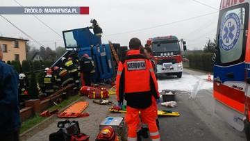 22-10-2017 09:35 Koszmarny wypadek w Wieprzu. Zginął kierowca ciężarówki