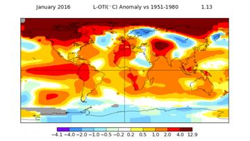 17-02-2016 12:19 NASA: styczeń był najcieplejszy w historii. Kolejny argument za globalnym ociepleniem