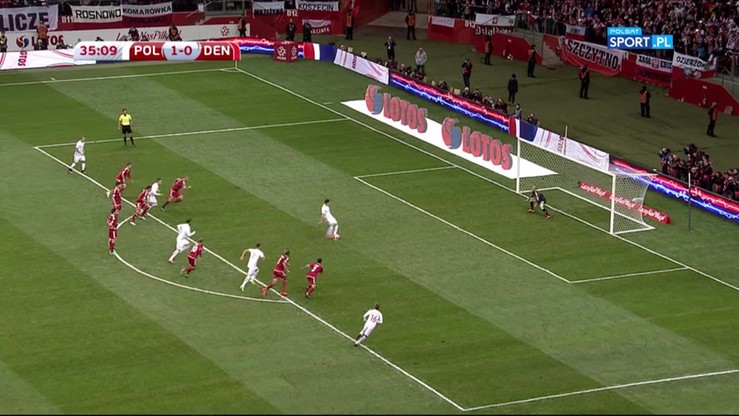 2016-10-08 Polska - Dania 2:0. Gol Lewandowskiego z karnego