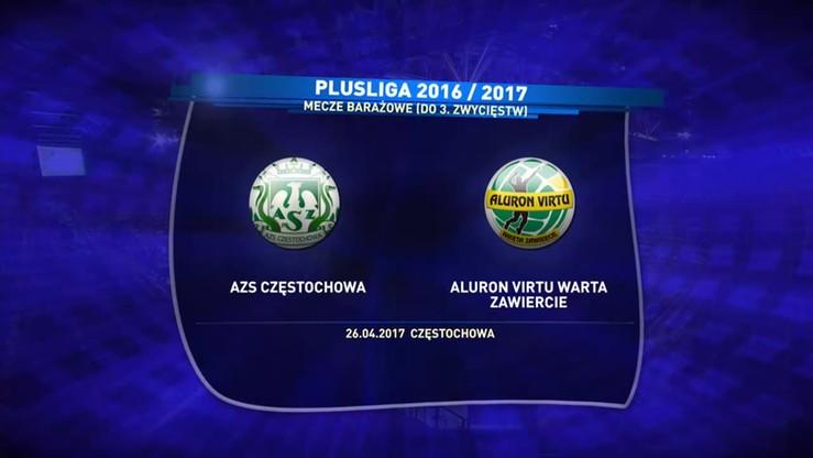 AZS Częstochowa - Aluron Virtu Warta Zawiercie 0:3. Skrót meczu