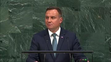 19-09-2017 22:03 Duda na forum ONZ o próbach wpływania z zewnątrz na politykę wolnych narodów