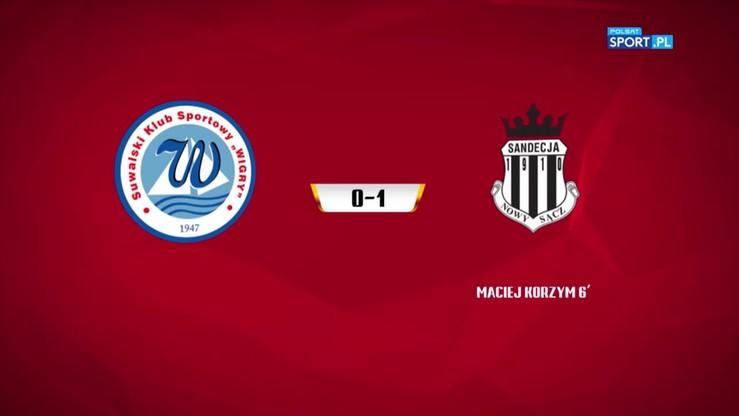 Wigry Suwałki - Sandecja Nowy Sącz 0:1. Skrót meczu
