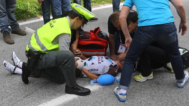 Giro d'Italia: Pozzovivo ma wstrząśnienie mózgu i obrażenia twarzy