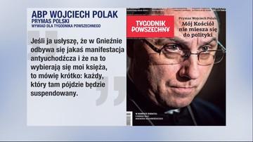 Prymas Polski grozi suspensą księżom, którzy wezmą udział w manifestacji przeciw uchodźcom