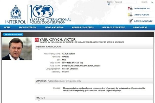 Janukowycz ścigany międzynarodowym listem gończym
