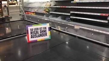 """25-08-2017 14:54 """"Tak pusta jest półka bez cudzoziemców"""". Supermarket w Niemczech protestuje przeciwko rasizmowi"""