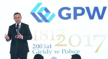 200-lecie giełdy w Polsce. Prezydent życzy następnych 200 lat