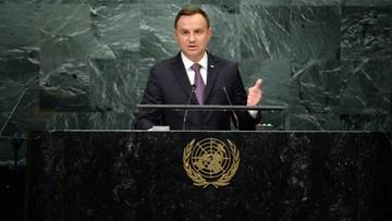 """20-09-2016 22:30 """"O losie narodów nie może decydować polityka siły i agresji"""". Prezydent Andrzej Duda w ONZ"""