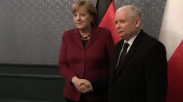 """07-02-2017 19:28 """"Wydaje mi się, że ta wizyta przyniesie dobre rezultaty"""". Spotkanie Kaczyński-Merkel; manifestacja przed hotelem"""